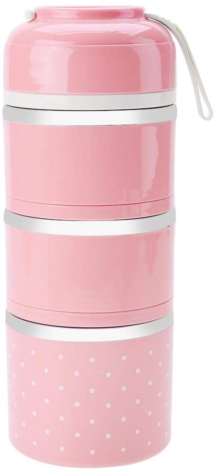 3-layer Stackable Insulated Lunch Box Stainless Steel Bento Box Insulated Lunch Bag Food Storage Container for Girls Kids Students(Pink)