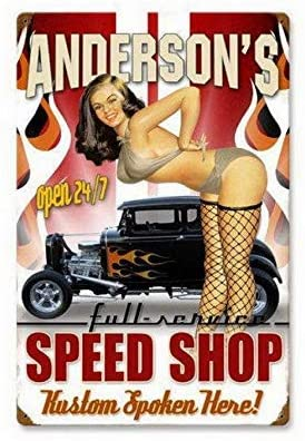 2 Pcs Personalized Speed Shop Rust Vingtage Metal Sign Garage Oil Man Cave Signs 8X12 Inch