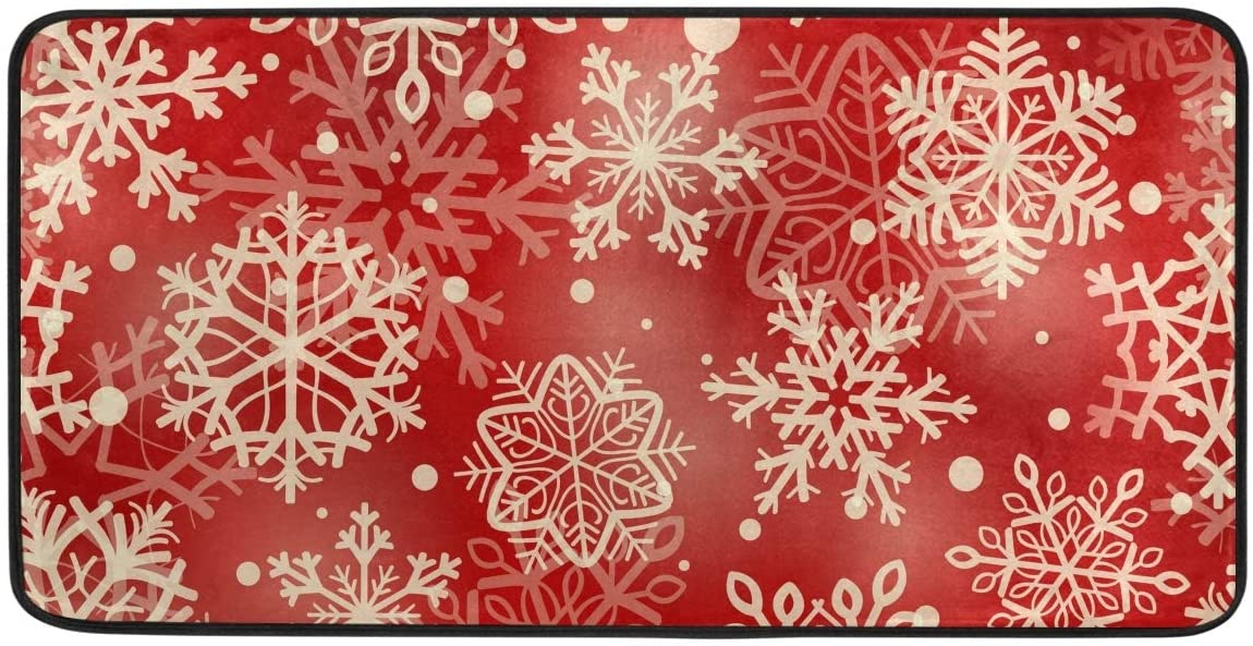 Gloden Snowflakes Red Kitchen Mat Rugs Cushioned Chef Soft Non-Slip Floor Mats Washable Doormat Bathroom Runner Area Rug Carpet,39