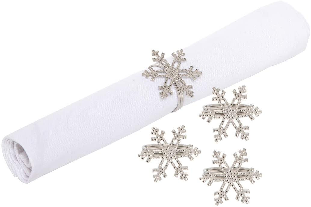C&F Home ICY Snowflake Silver 2.5 Inch Zinc Alloy Metal Decorative Christmas Napkin Rings Set of 4