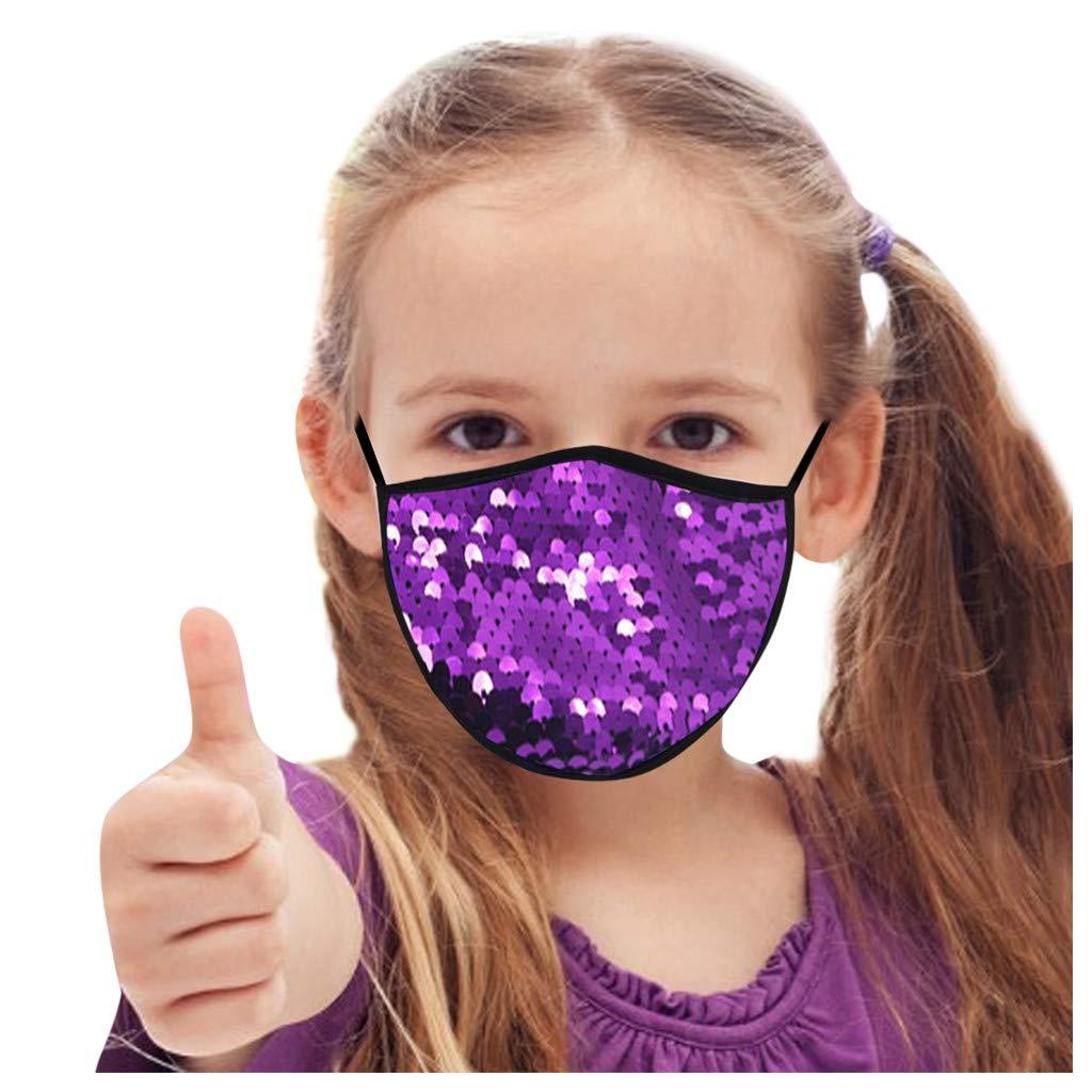 Childrens_Sequin_Mask_Protection Filter Against Dustproof_Mask, Breathable Comfortable Fashion BandanasOutdoor Elastic Ear Loop For Children,Girl,Boy,Kid,Outdoor School