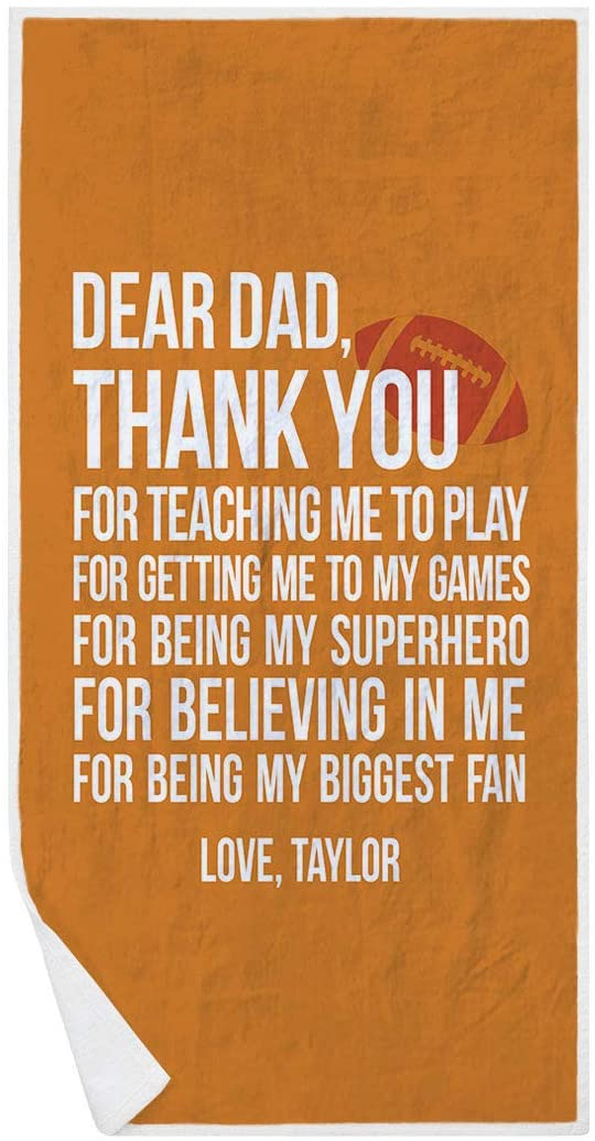 ChalkTalkSPORTS Personalized Football Premium Beach Towel   Dear Dad   Orange