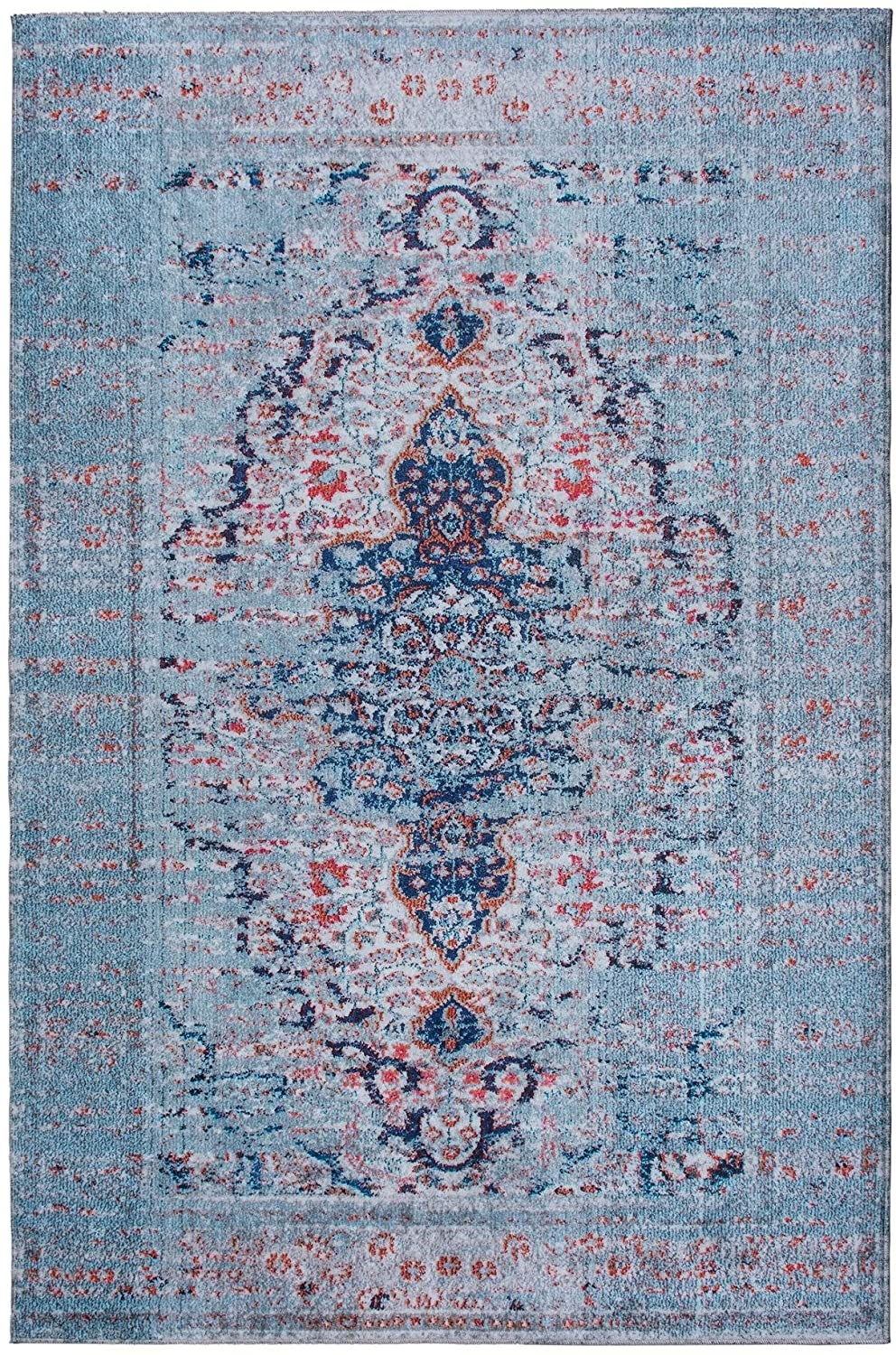 Mylife Rugs Traditional Vintage Non Slip Machine Washable Distressed Printed Area Rug, Blue Red 4'x6'