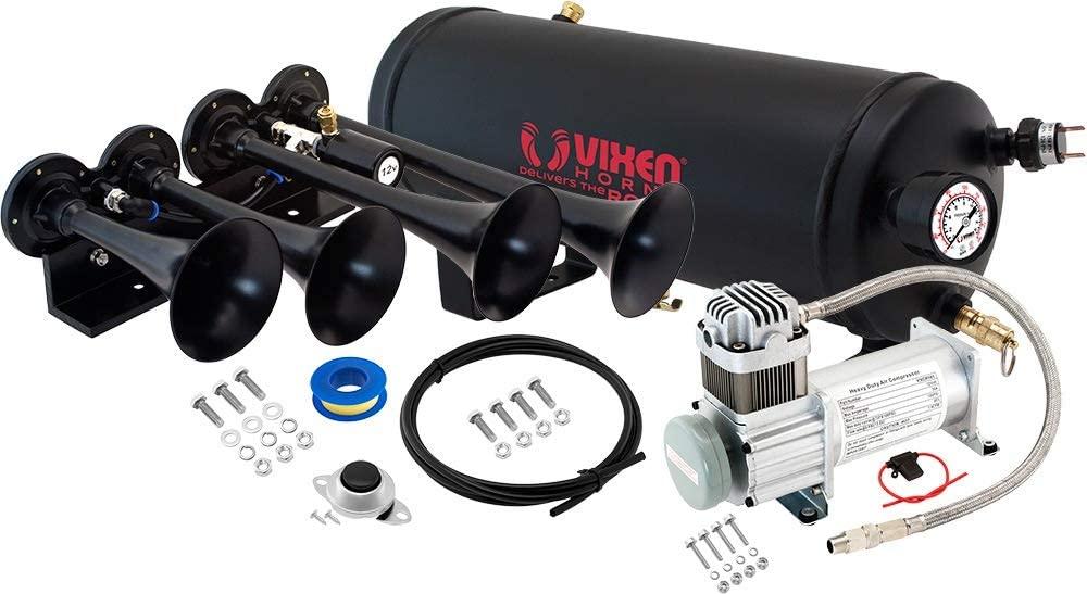 Vixen Horns Train Horn Kit for Trucks/Car/Semi. Complete Onboard System- 150psi Air Compressor, 1.5 Gallon Tank, 4 Trumpets. Super Loud dB. Fits Vehicles Like Pickup/Jeep/RV/SUV 12v VXO8115/4124B