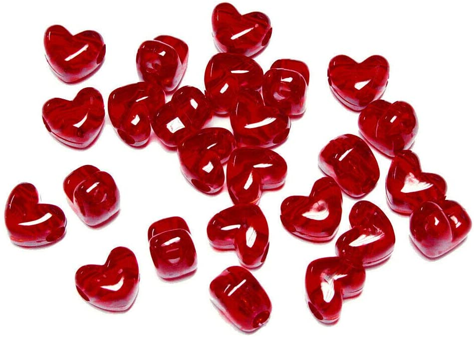 Dark Ruby Red Heart Shaped Pony Beads Horizontal Hole Made in USA Crafts Jewelry from D&J