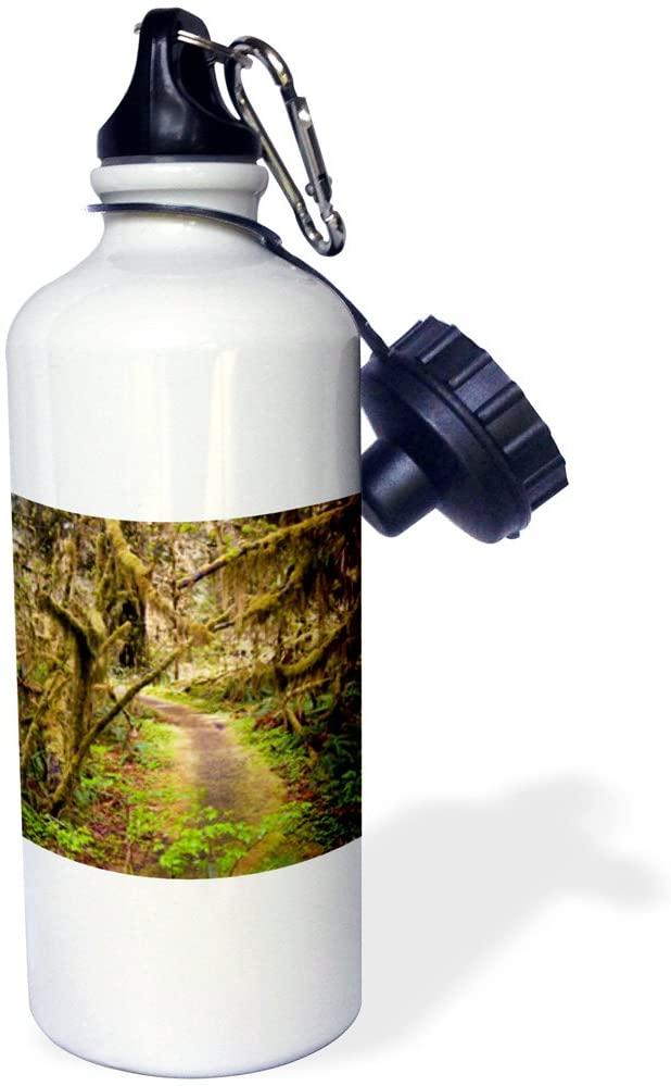 3dRose Hoh Rainforest, Olympic Peninsula, Washington US48 MWR0008 Micah Wright Sports Water Bottle, 21 oz, White