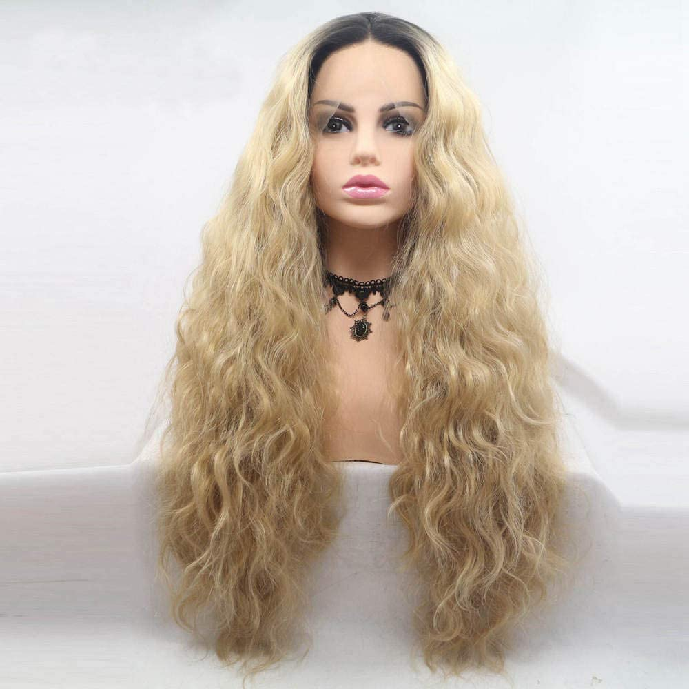 XHCP Wig Long Ombre Blonde Curly Wavy Wig Dark Roots Mermaid Long Synthetic lace Front Wig Heat Reisitant Middle Part Soft Wig for Women Drag Queen Party Makeup 24 Inch
