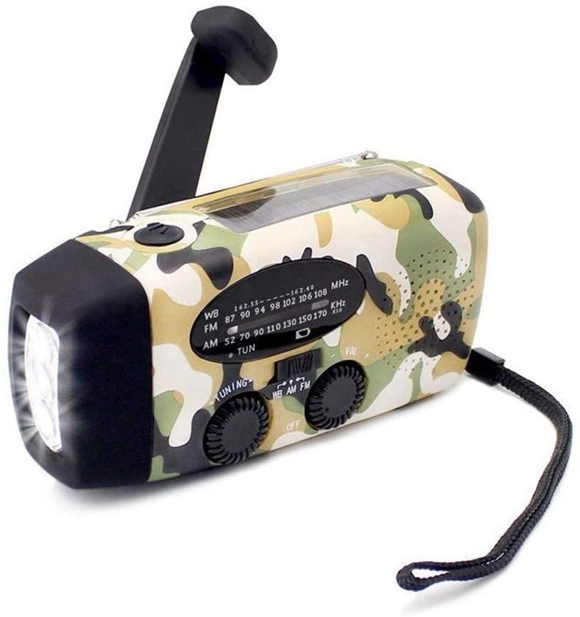 Datouya Emergency Radio, Generator Manual Crank Self-Powered AM/FM/NOAA Weather Radio, 1000mAh Mobile Power Bank with Flashlight Household and Outdoor Emergency Weather Radio (Color : Red)
