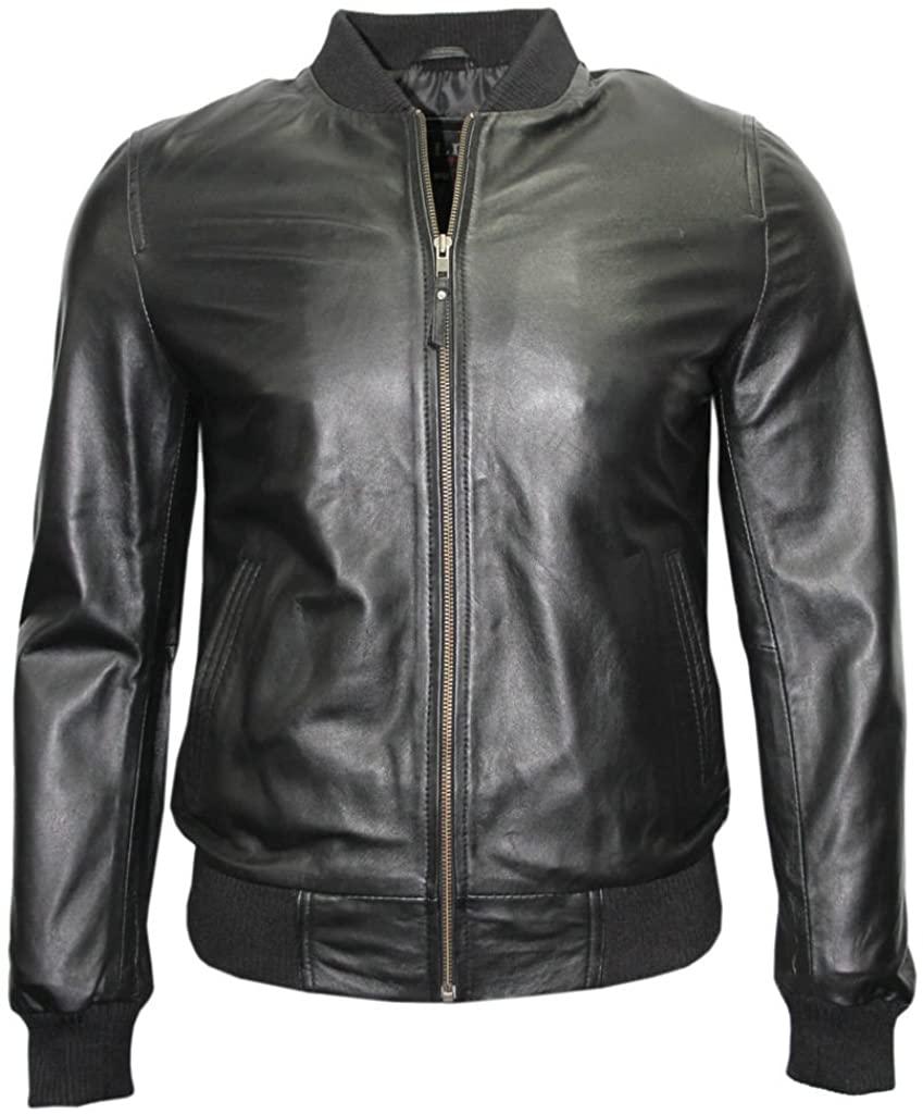 Infinity Mens Retro Black Nappa Leather Bomber Slim Fit Casual Varsity Jacket