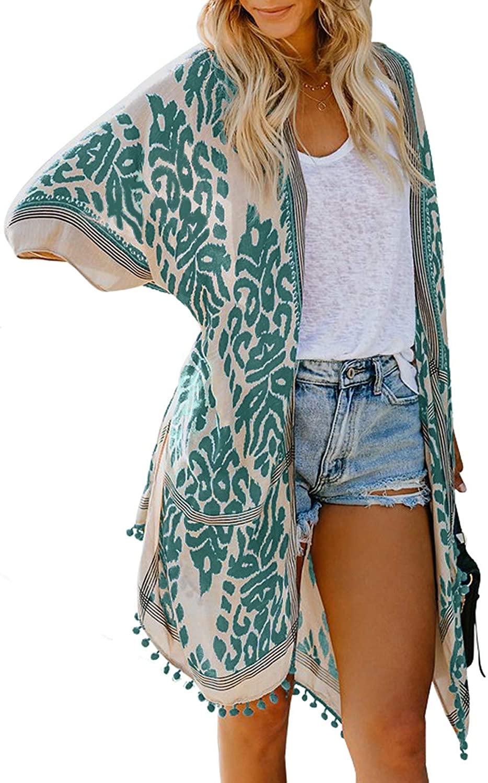 Tiksawon Womens Fashion Boho Printed Kimono Beach Cover up Summer Open Front Loose Flowy Cardigan Top with Tassel