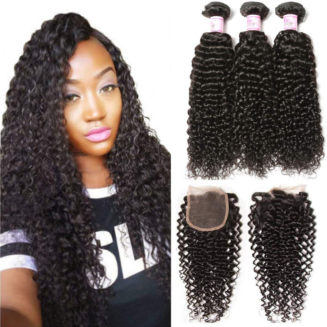 B&F Hair Unprocessed Brazilian Virgin Curly Hair Weave 3piece/lot Bundles with 1piece Free Part Lace Frontal Closure 100% Human Hair Extensions Nature Color (12 14 16+ 10closure)