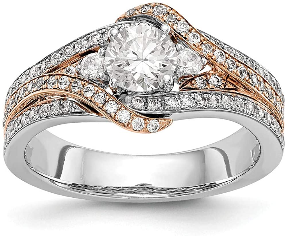 14k Two-tone Diamond Round Semi-mount By-Pass Engagement Ring Size 7 Length Width