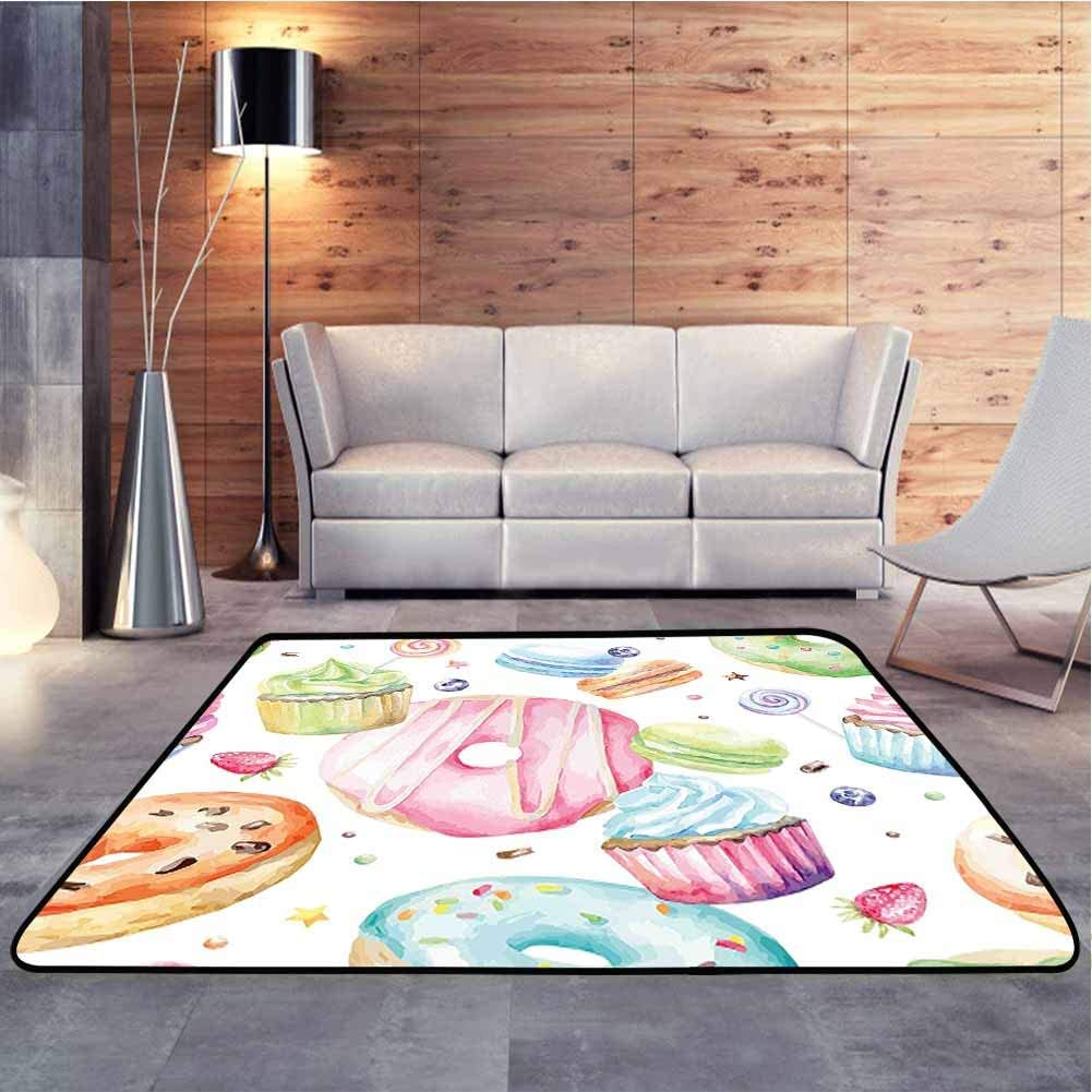 Home Decor Carpet Delicious Macaron Cupcakes Donuts Muffins Sugar Tasty Yummy Watercolor Design Green Pink Original Faux Rug for Bedroom Living Room Girls Kids Nursery, 6.5 x 10 Feet