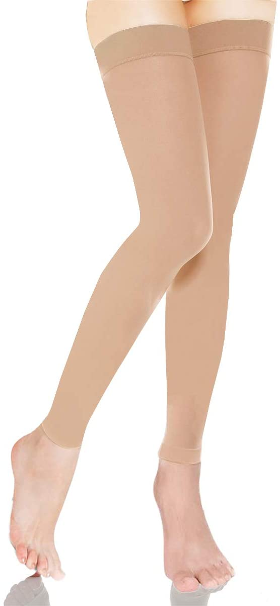 DCCDU Thigh High Compression Stockings, Firm Support 20-30 mmHg Gradient Compression Medical Support Varicose Veins Swelling (Beige, L)