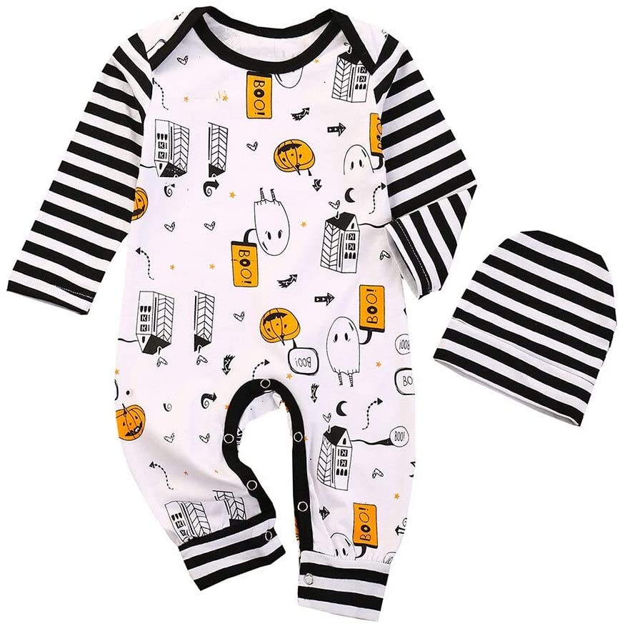 XYXINS Autumn Baby Girls Boys Halloween Rompers Pumpkin Ghost Newborn Baby Girl Clothes Set Infant Long Sleeve Romper Hats 2pcs Outfits (Color : Pink, Kid Size : 6M)