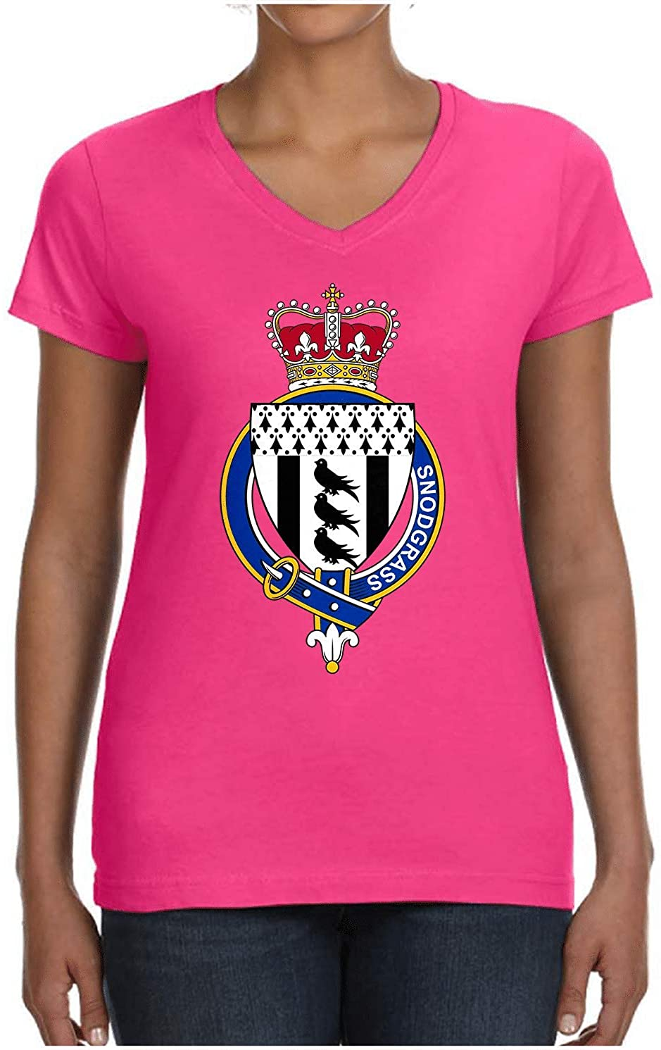 HARD EDGE DESIGN Ladies Scottish Garter Family Snodgrass V Neck T-Shirt, Medium, Hot Pink