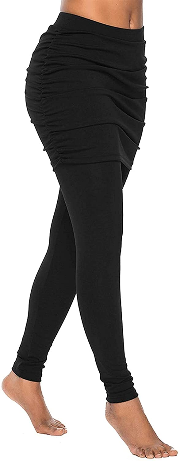 BESUMA Women's Skirted Leggings Tights Yoga Active Pants Capri Leggings