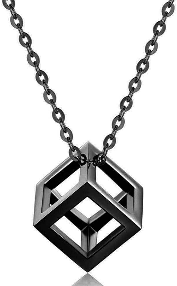 Personalized Titanium Steel Necklace Simple Hollow Square Pendant Couple Fashion Accessories Black