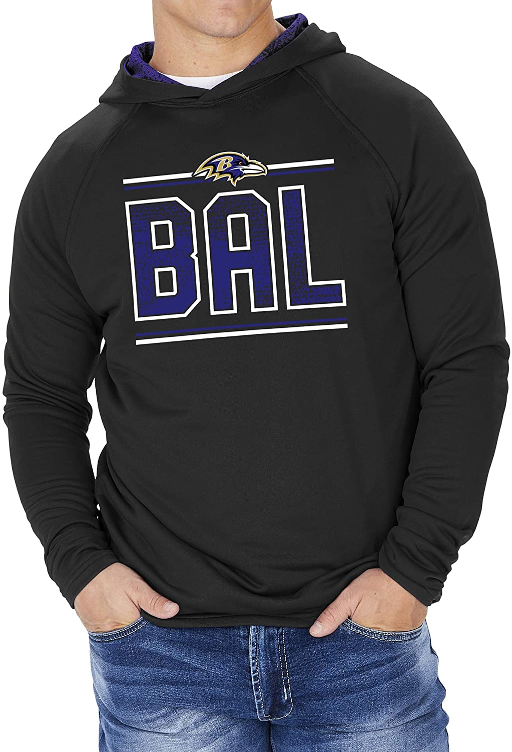 Zubaz Officially Licensed NFL Men's French Terry Lightweight Hoodie with Static Hoodie Liner, Team Color