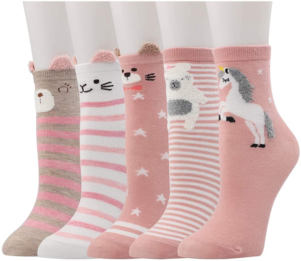 Dsaren 5 Pairs Cartoon Animal Socks Cute Cotton Casual Crew Socks Novelty Floor Socks for Women Girls Funny Gift