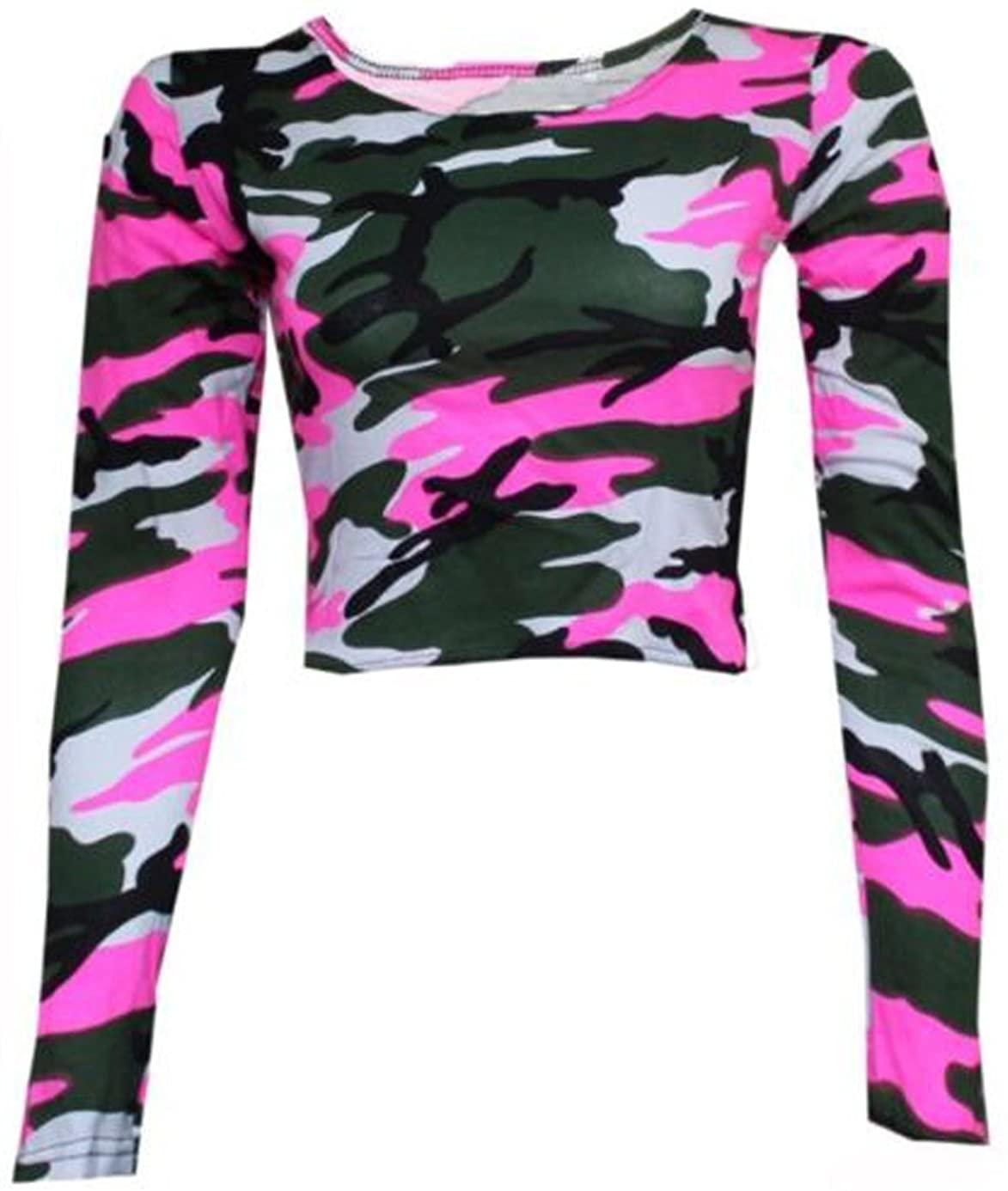 GirlsWalk Women's Long Sleeves Army Camouflage Printed Short Crop Top