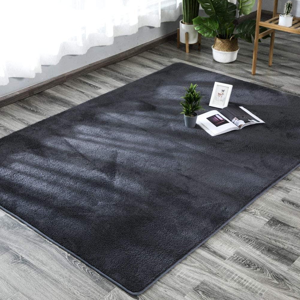 TriGold Ultra Soft Shaggy Area Rugs, Modern Decor Indoor Carpets Not-Slip Rugs Fluffy Rectangular Nursery Rugs for Bedroom Living Room-Dark Gray 200x250cm(79x98inch)