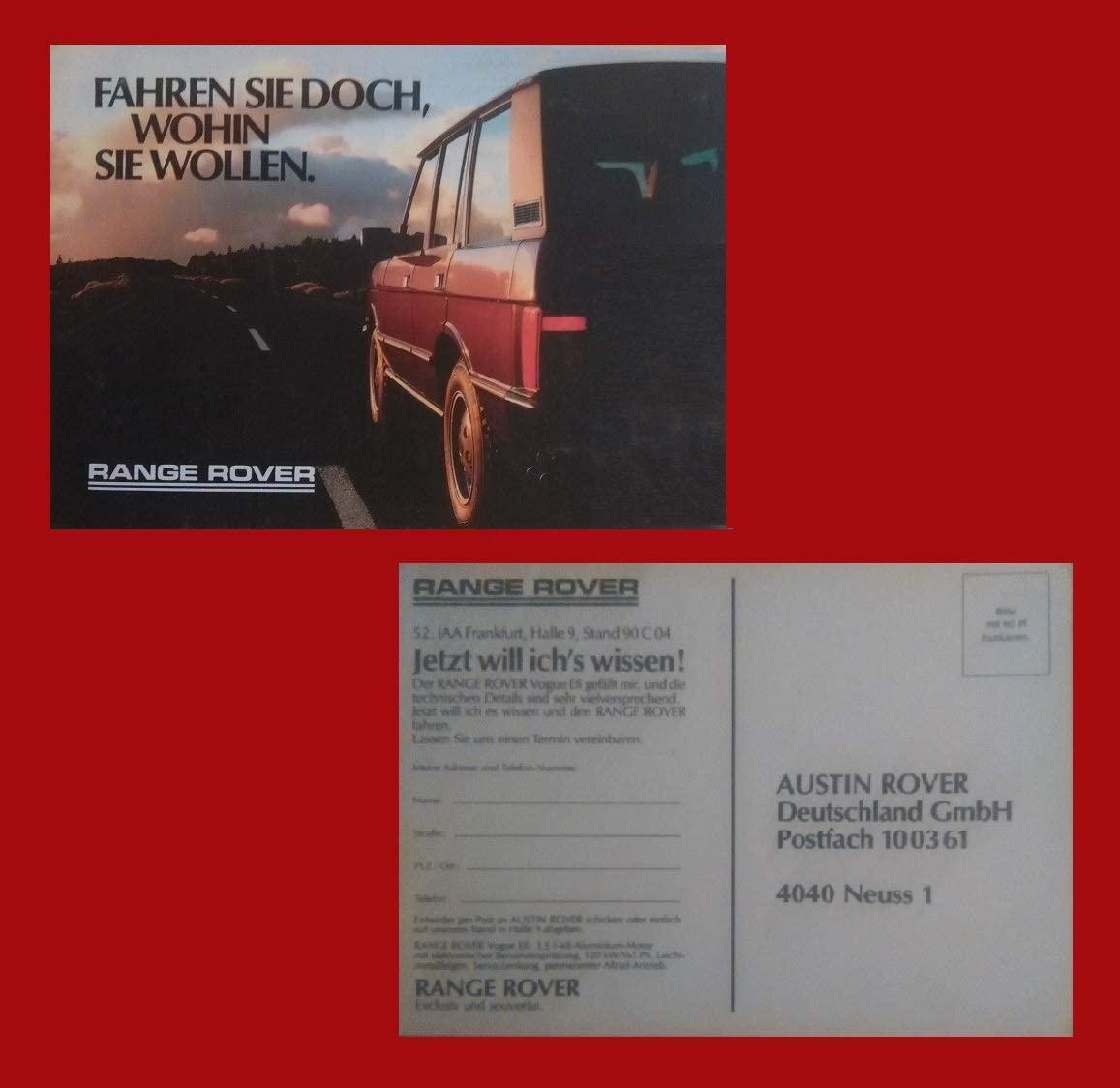 1987-88 LAND ROVER RANGE ROVER VOGUE Efi FACTORY ORIGINAL COLOR POSTCARD - GERMANY - GREAT VINTAGE POST CARD !!