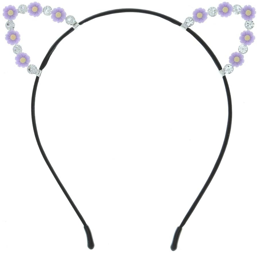 Attitude Studio Kitty Cat Ears Headband, Rhinestone Diamond Gem Costume Headpiece, Feline Pretend Play, Halloween Dress Up Cosplay, Party Favors, Hair Accessory for Little Girls Teens - Light Purple