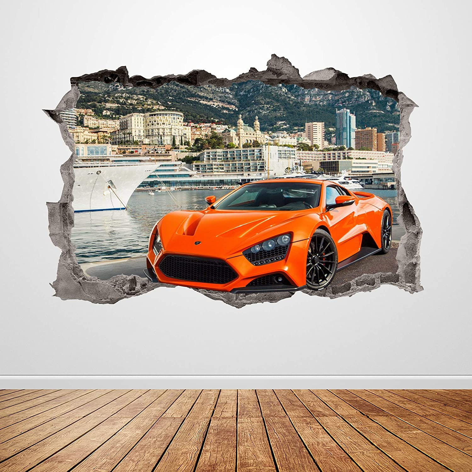 Lamborghini Wall Decal Smashed 3D Graphic Orange Racing Car Wall Sticker Art Mural Poster Kids Room Decor Gift UP189 (36