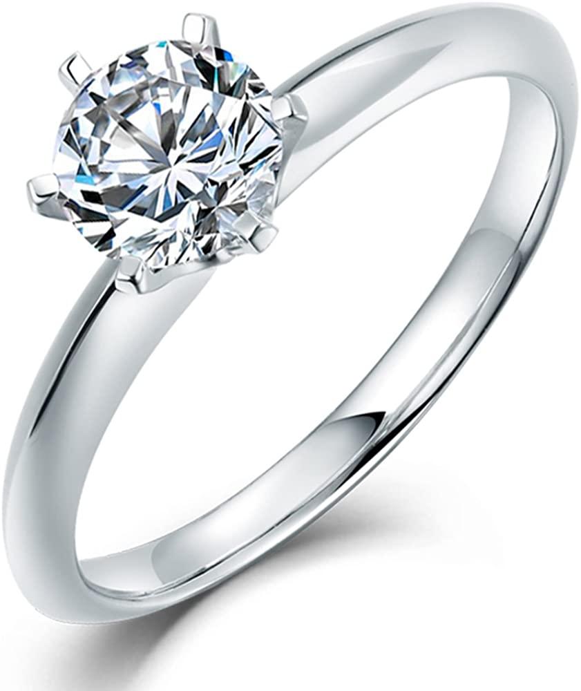 Lanmi Forever Love 18K White Gold 1.00Ct Natural Diamond Wedding Band Engagement Ring