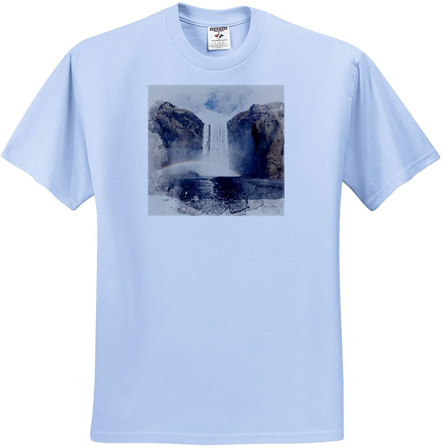3dRose Anne Marie Baugh - Impressionist Mixed Media Art - Image of Watercolor Waterfall Through A Rainbow Art - Youth Light-Blue-T-Shirt Small(6-8) (ts_328964_60)