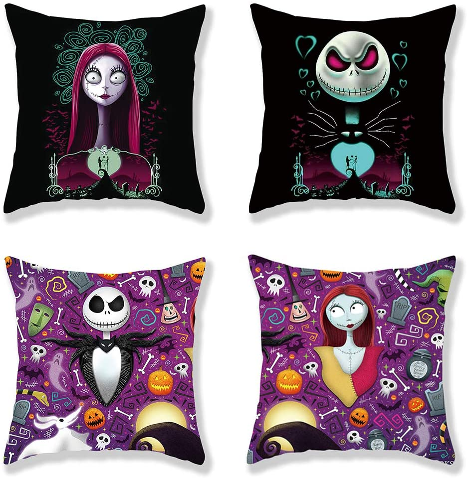 N/K Decorative Accent Pillow Covers Set Pack of Two Soft Cute Animal Cartoon Halloween Christmas Cushion Cover 18×18 inch for Sofa Bedroom Car (BZ-10)