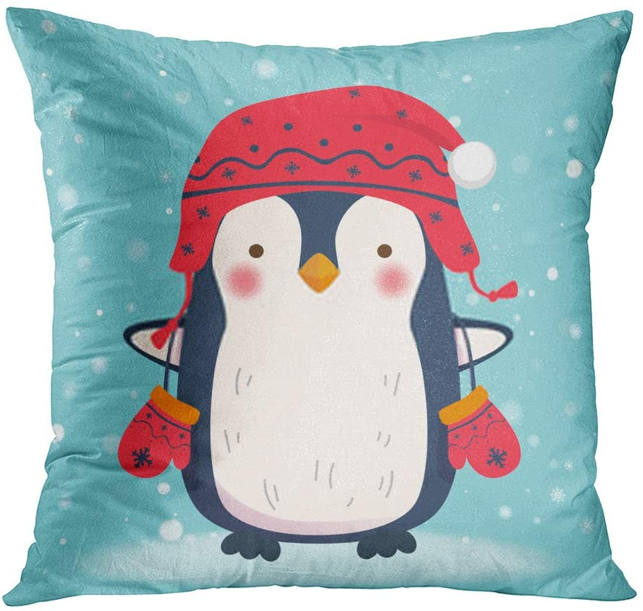 Zomike Throw Pillow Cover Square 204 x 18 Inch Penguin Cartoon Winter Animal Character Snowflake Cushion Home Decor Sofa Bedroom Office Polyester Pillowcase