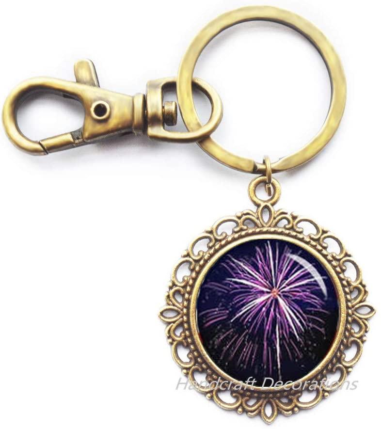 Firework Glass Keychain,Chinese New Year Celebration Keychain,Firework Key Ring Keychain,Firework Jewelry,red Fireworks.F215