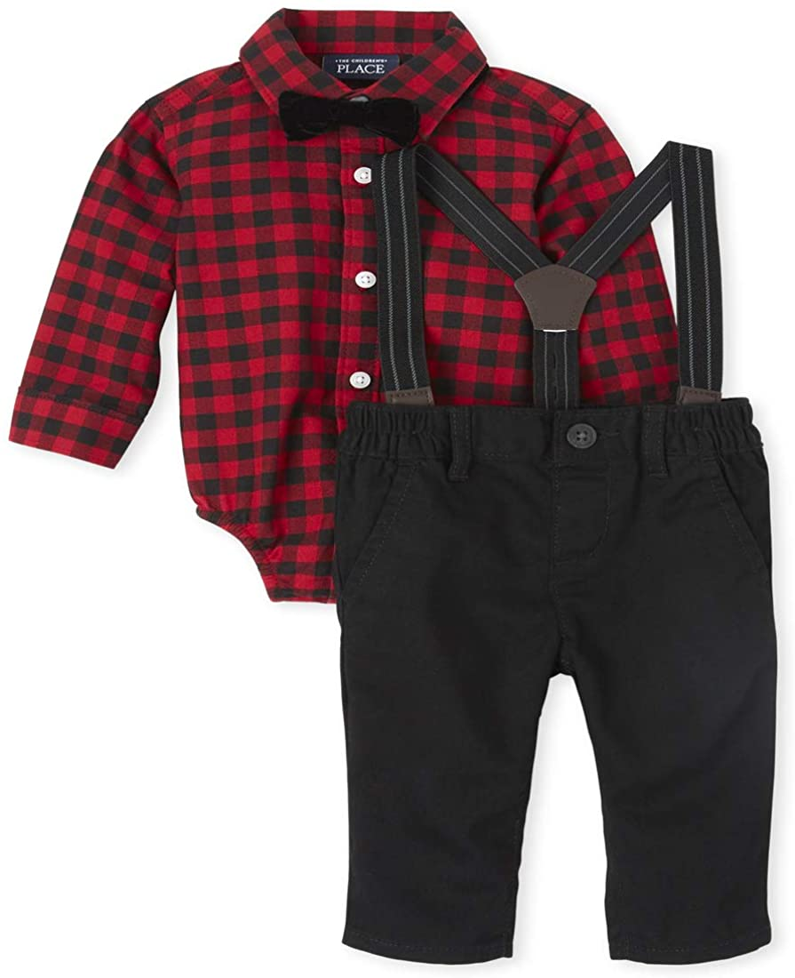 The Children's Place Baby Boys' Matching Family Buffalo Plaid Oxford Outfit Set