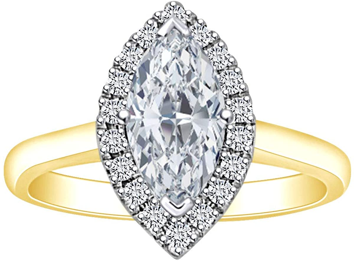 1 1/5 Carat Marquise & Round White Natural Diamond Cluster Engagement Ring In 14k Solid Gold (1.20 Cttw)