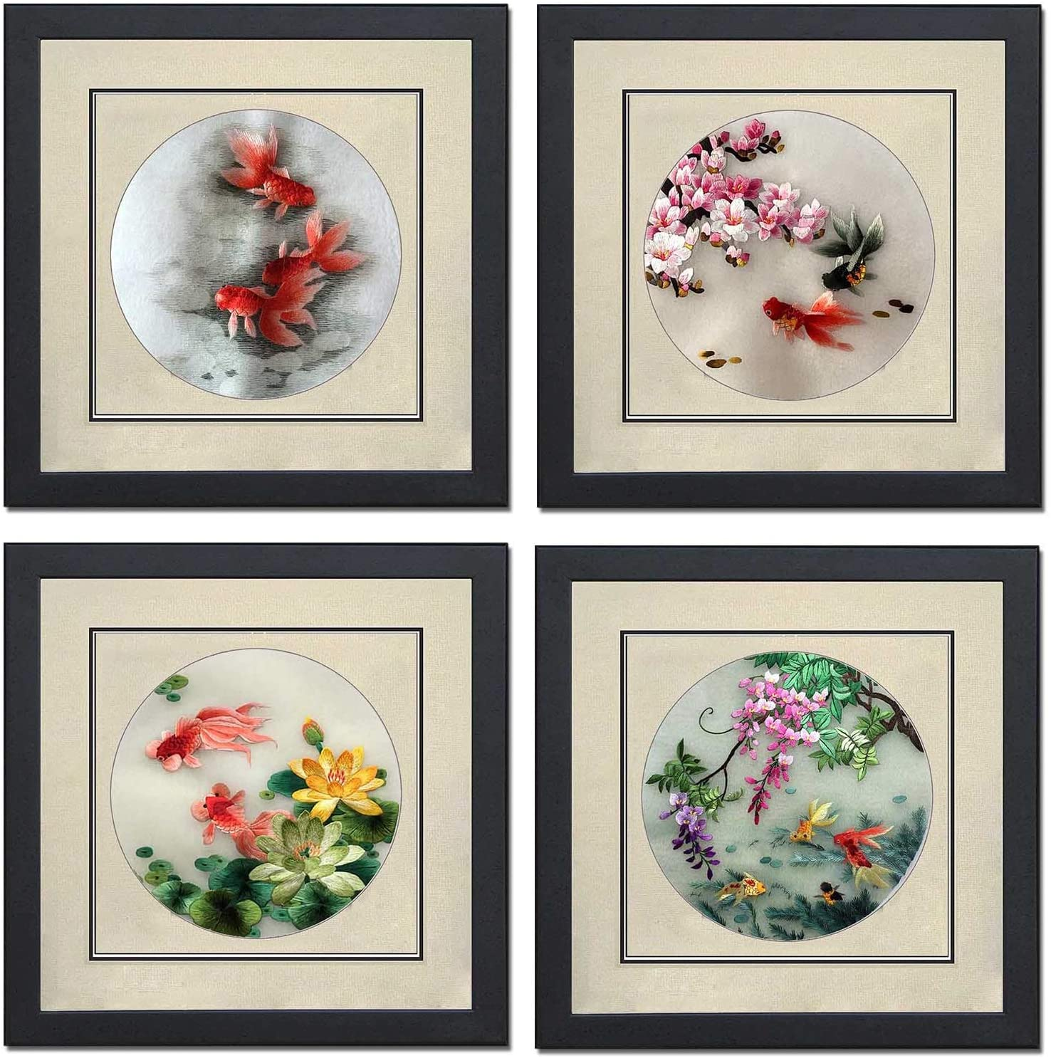 Ozlvii Silk Art 100% Handmade Embroidery Mixed Group Japanese Koi Framed Fish Painting Wedding Gift Oriental Asian Wall Art Decoration Artwork Tapestry Hanging 41011WF & 41012WF & 41013WF & 41014WF