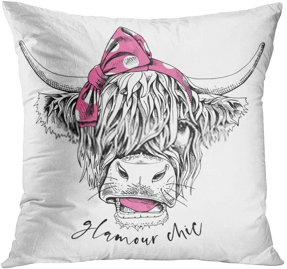Vooft Throw Pillow Decor Square Chic Cute Cow Hairy Coo Pink Polka Dot Bow Headband Glamour Quote Humor 16 x 16 Inch Decorative Cushion Cover Printed Pillowcase Cover Home Sofa Living Room