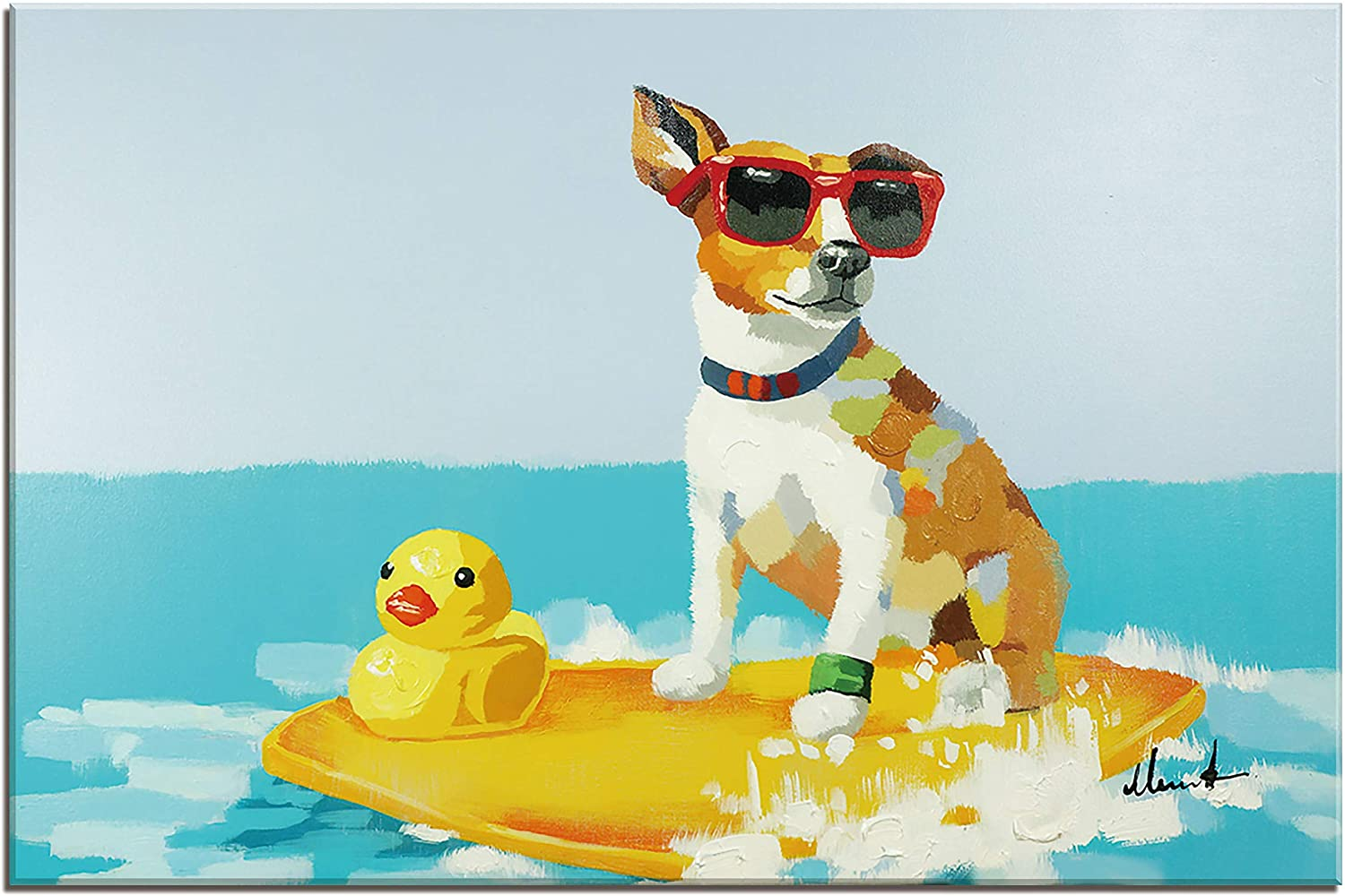 Bignut Wall Art 100% Hand Painted Beach Surfing Dog Picture Ocean Painting Funny Animal Canvas Ready to Hang 36x24in