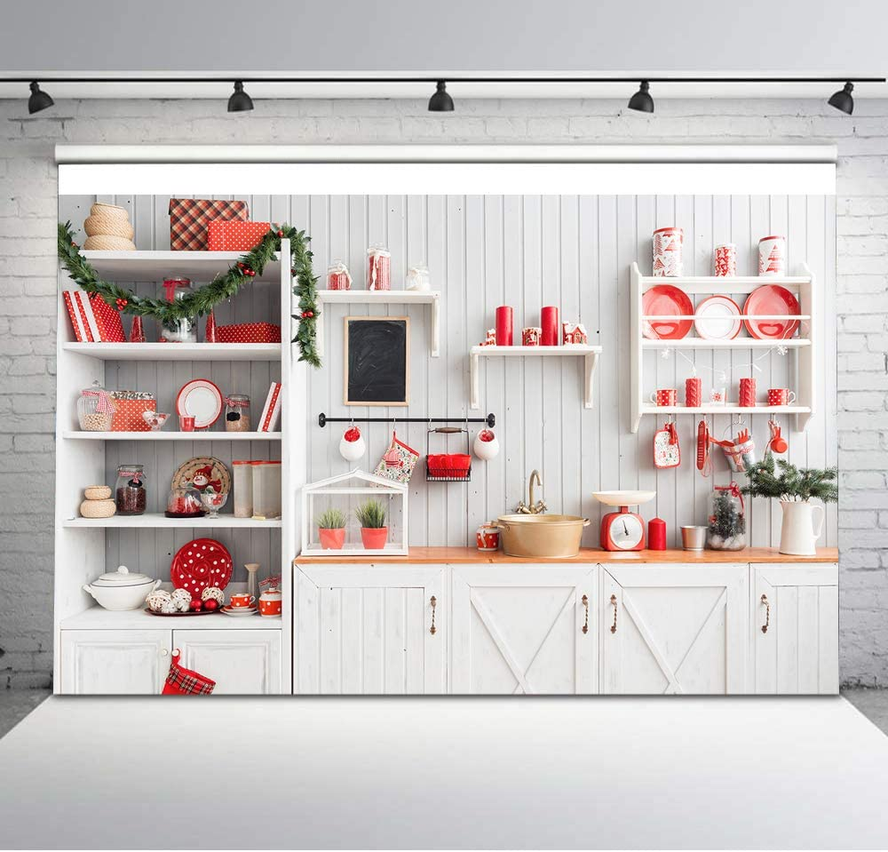 Avezano 6x4ft Christmas Modern Kitchen Backdrop Retro Wood Wall Cook Photography Background Indoor Xmas Holiday Party Newborn Baby Portraits Backdrops