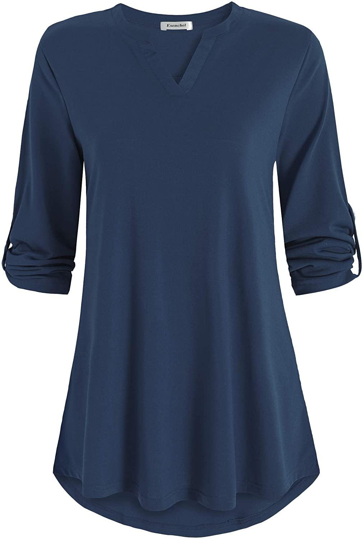 Esenchel Women's 3/4 Roll Sleeve Tunic Top High Low Blouse Shirt