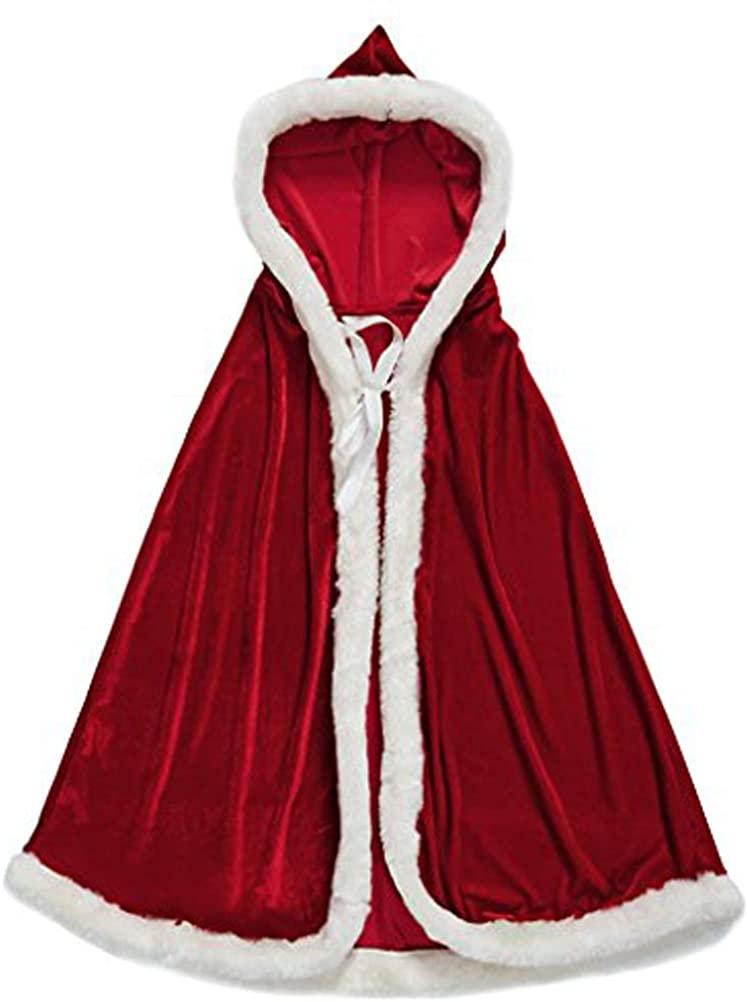 Halloween Christmas Costumes Women Girls Velvet Hooded Cloak Red Robe Mrs Santa Claus Costume Cape