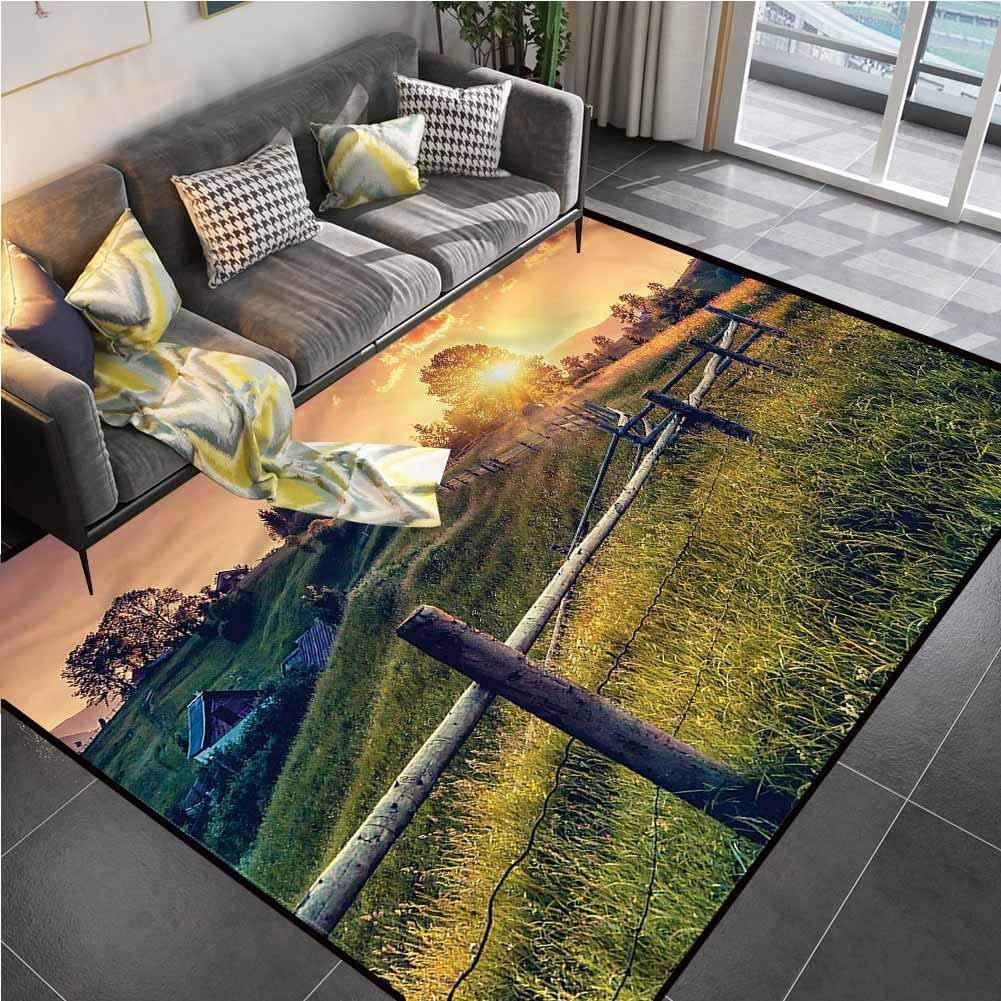 Area Rug Print Large Rug Mat Europe,Morning Sunbeams Sky Carpet Padding for Living Dining Dorm Playing Room Bedroom 6'6