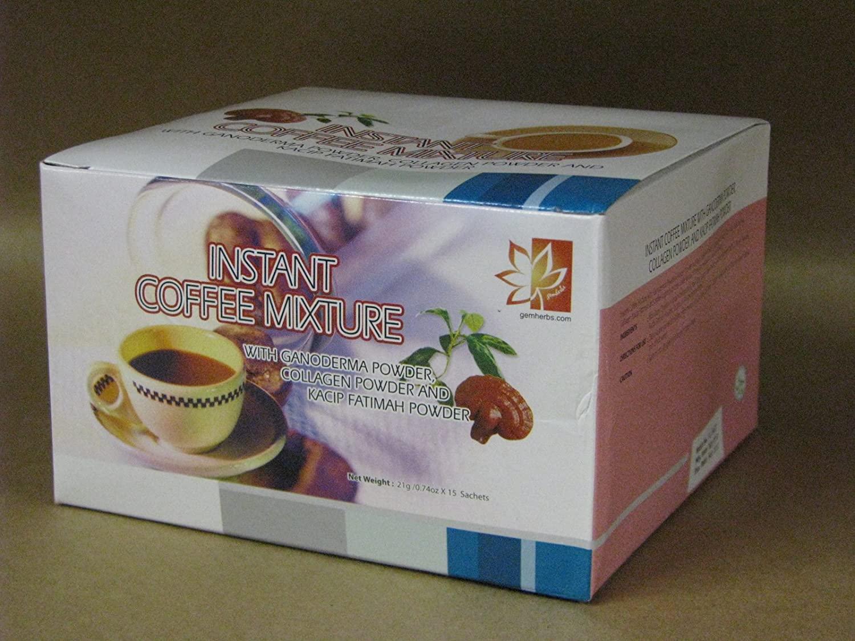 Healthy Hair Skin & Nails Coffee with Ganoderma, Collagen and Kacip Fahtima - 1 Box (15 sachets))