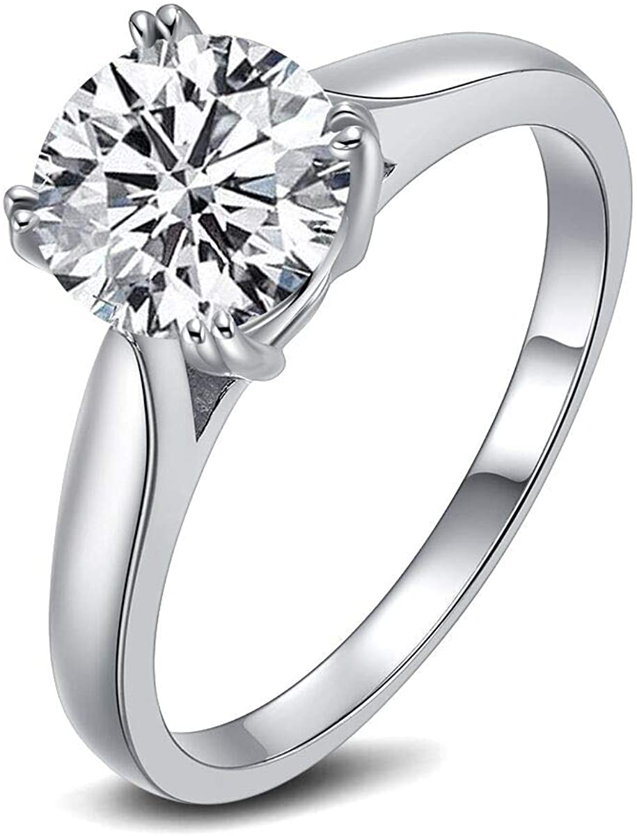 DYUNQ 2 Carat Round Brilliant Cubic Zirconia Solitaire Engagement Wedding Ring for Women 925 Sterling Silver Size 5 to 8