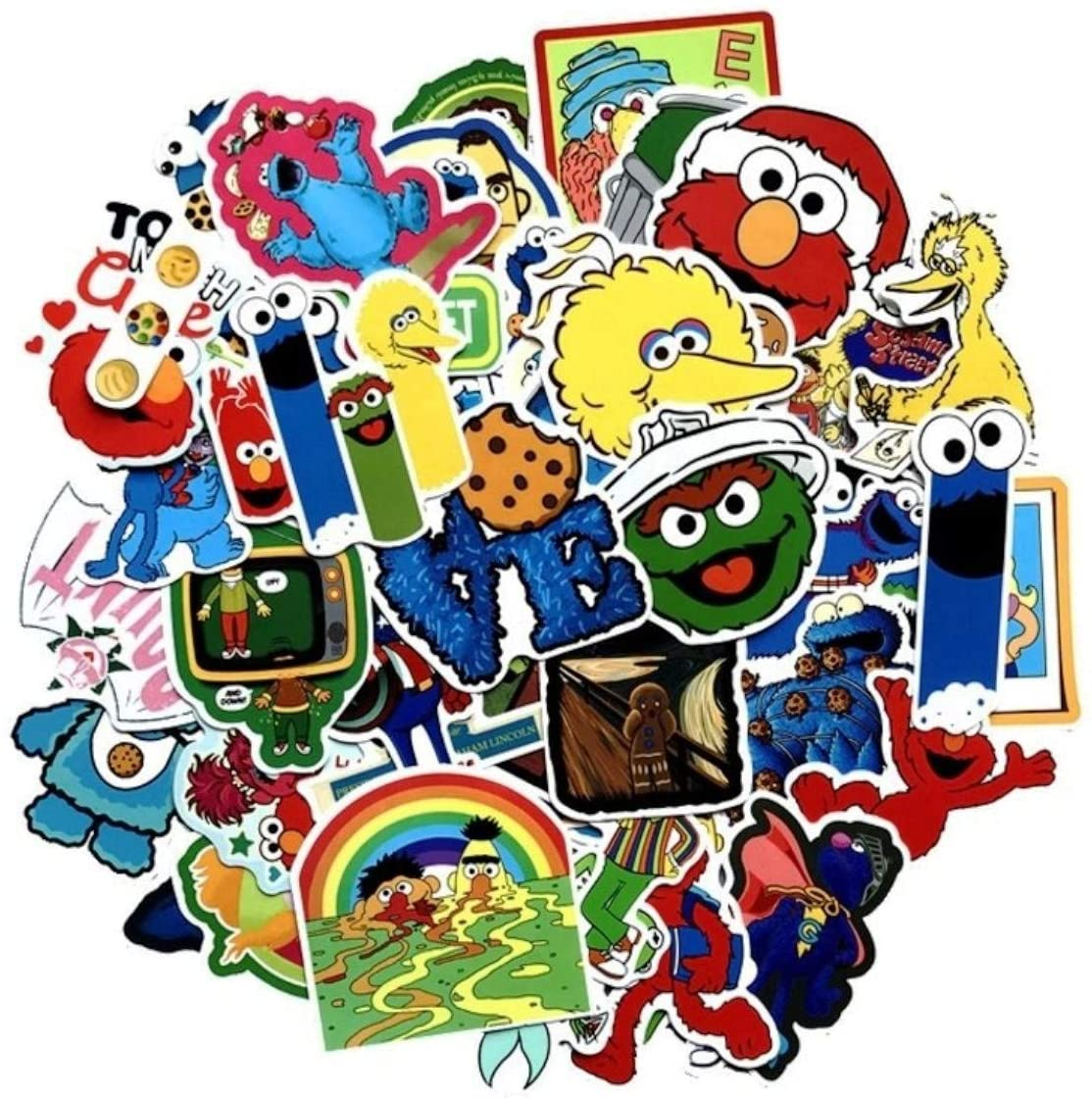 Mainstreet247 Cookie Monster Elmo and Friends Themed Set of 50 Sticker Decals
