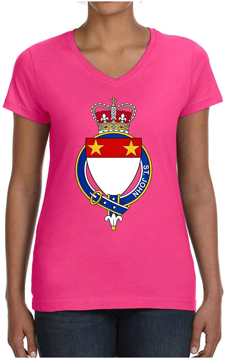 HARD EDGE DESIGN Ladies English Garter Family St. John V Neck T-Shirt, Medium, Hot Pink