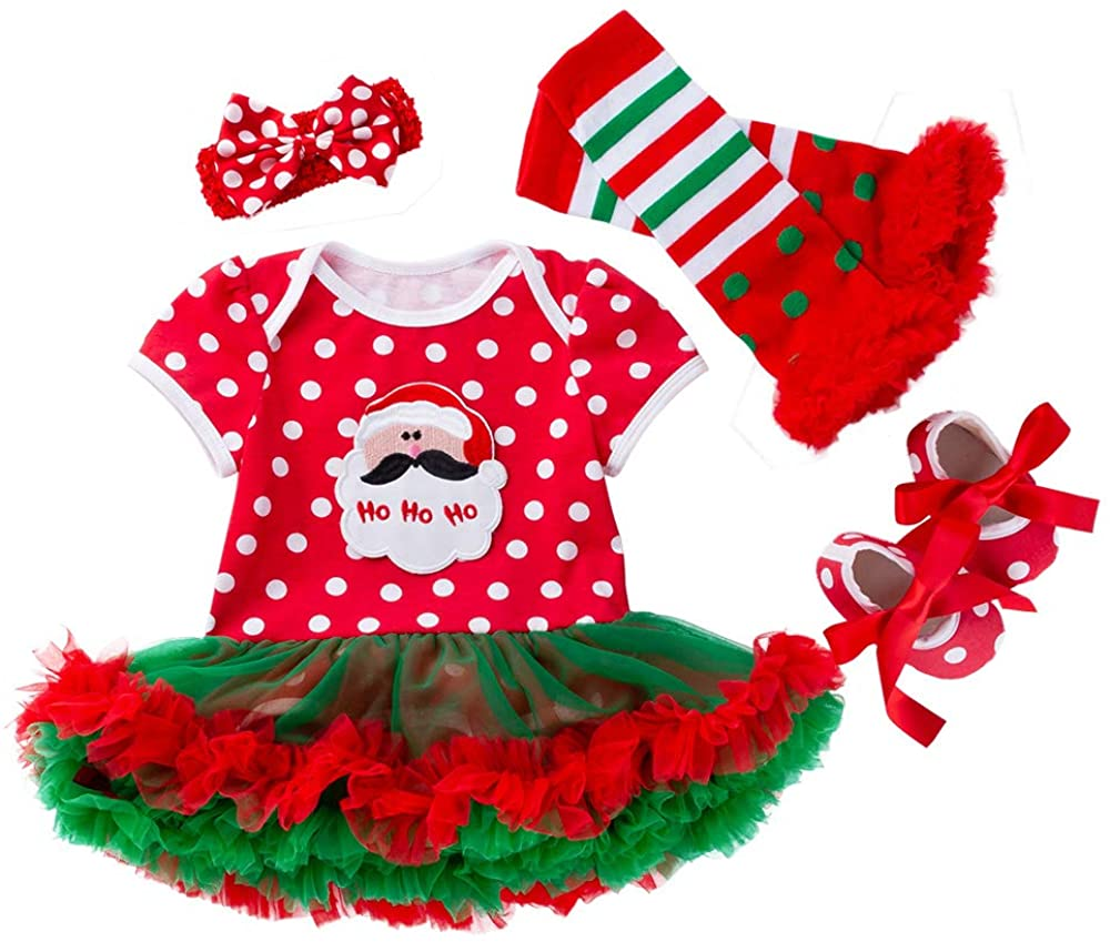 AMMENGBEI Newborn Infant Baby Girls Christmas Outfit Santa Romper Tutu Dress 4PCS Christmas Clothes