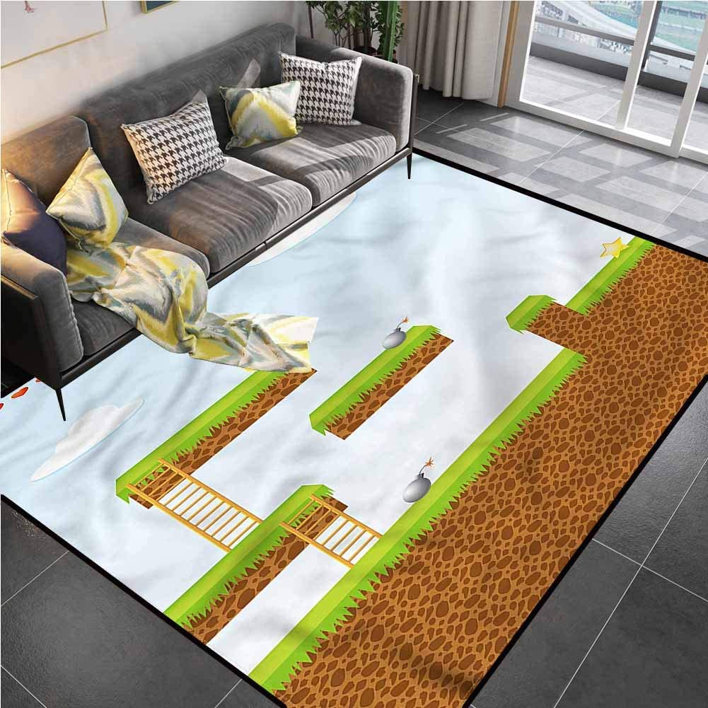 Area Rugs Print Large Carpet Boys Room,Blocks and Star Coins Carpet for Bedroom for Living Playing Dorm Room Bedroom 5'7