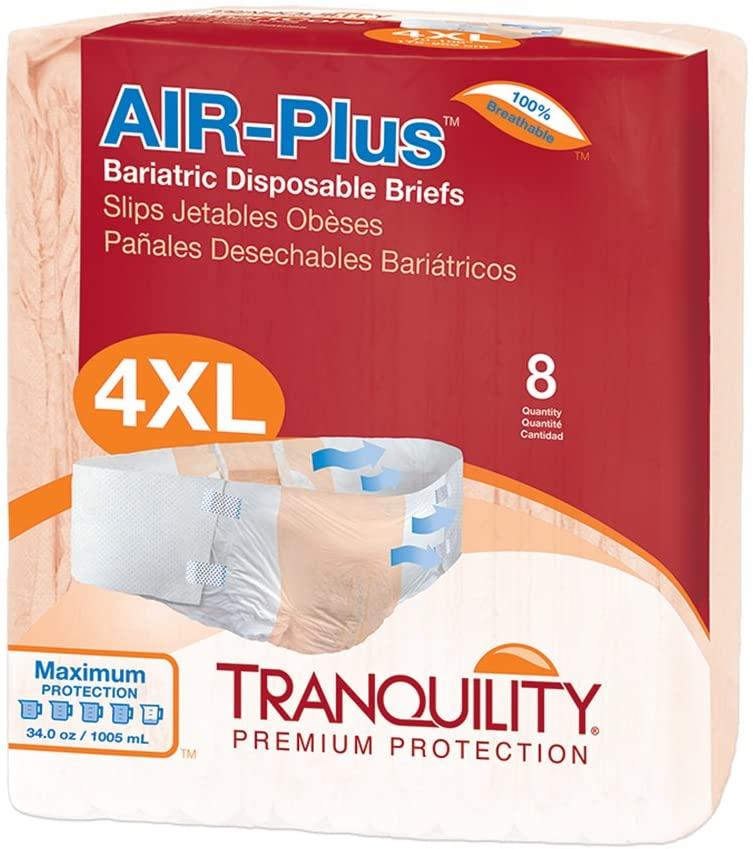 Tranquility AIR-Plus Breathable Bariatric Disposable Briefs - 4XL - 8 ct
